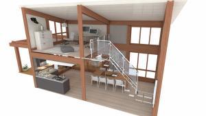veranda su due livelli-spaccato-arredi